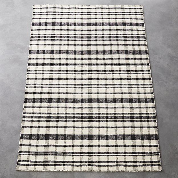 black-and-white-check-rug